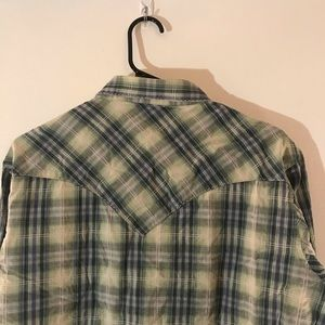 Wrangler Shirts - Wrangler Green Long Sleeve Button Plaid Shirt
